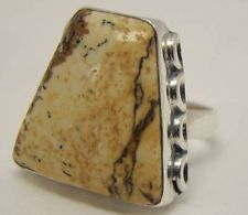 BIG CREAM BROWN JASPER GEMSTONE OPAQUE RING 8.2g STERLING SILVER 925 SIZE 7.25