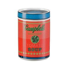 This isn't big enough to store soup, but the Andy Warhol Campbell's Soup covered box in pink is just right for your desk. Warhol's first solo exhibition on the West Coast, and the first exhibition of