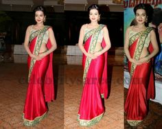 Cathrine in Red Crepe Saree | Saree Blouse Patterns