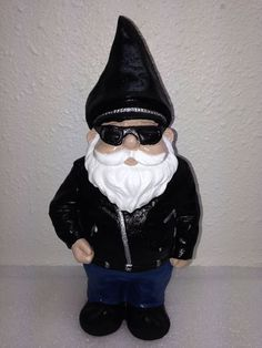 Hand Painted Harley Biker Black Leather Cement Garden Gnome