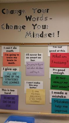 I like the idea of it but those letter with the zigzag - so difficult to read - would do my head it. Would look better in all black. Poster could do with a bit of sprucing up as well. Growth mindset bulletin board