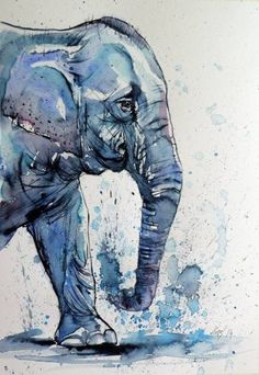 Art Painting Still Life ARTFINDER: Elephant by Kovács Anna Brigitta - Watercolour with gold pigment. Original watercolour painting on high quality watercolour paper. I love landscapes, still life, nature and wildlife, lights . Image Elephant, Elephant Art, Water Color Elephant, African Elephant, Animal Paintings, Animal Drawings, Art Drawings, Elephant Paintings, Indian Paintings