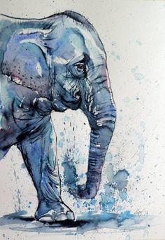 "Saatchi Art Artist Kovacs Anna Brigitta; Painting, ""Elephant"" #art"