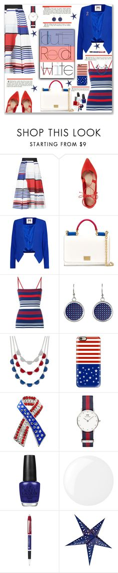 """Stars and Stripes to Work"" by fassionista ❤ liked on Polyvore featuring Milly, Loeffler Randall, Dolce&Gabbana, Casetify, Daniel Wellington, LIST, OPI, Essie, Cross and Cultural Intrigue"