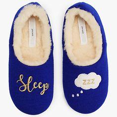 Buy John Lewis Sleep Cosy Slippers, Navy Online at johnlewis.com