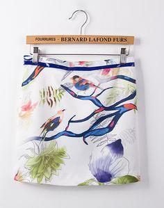 White Birds Florals Print Chiffon Skirt - Sheinside.com