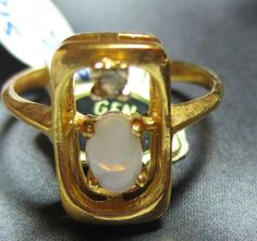 18kt HGE Yellow Gold and Genuine Opal Ring by VINTAGEARTJEWELRY, $42.00