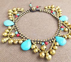 Boho Ankle Bracelet with Stones by Summerwrist on Etsy, $13.00