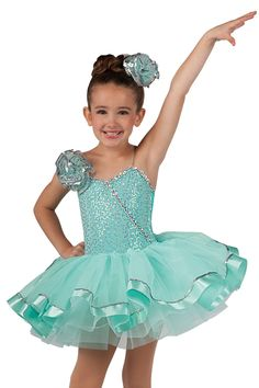 15142 My Girl | Kids Showcase / First Performance / Dance Costumes / Recital Wear | Dansco 2015 | Silver spotlight sequin on mint spandex and solid jade spandex leotard with attached mint chiffon tutu and adjustable nude elastic straps. Silver spotlight sequin, sequin braid, chiffon pouf and mint ribbon trim. Headpiece included.