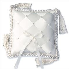 WeddingDepot.com ~ Ring Bearer Pillow - Woven Ribbon & Pearls ~ Satin ribbons are elegantly woven to perfection and accented by hand-sewn pearls.