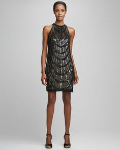 Deco Sequined Cocktail Dress by Nicole Miller at Neiman Marcus.