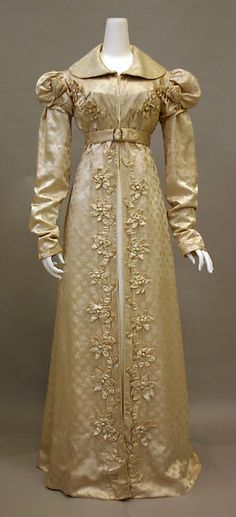 Redingote Date: 1818–20 Culture: French Medium: silk Redingotes were worn from 1818 onwards initially indoors in cold weather, worn open to reveal the dress beneath. Its name derives from the 18th century version of a riding coat.