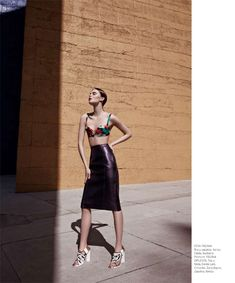Harper's Bazaar Latin America. Spring 2013, we're seeing the 19080's look coming back, the bra top with tight pencil skirt.