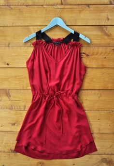 Blazing and brilliant in red, this knock-out silk dress has black straps and a gathered waist with adjustable string tie. #vday #valentinesday #dress #love #red $48