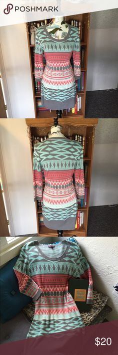 Awesome sweater dress! EUC! Gorgeous sweater dress! Says XXL but would fit an XL comfortably. Great Aztec pattern. Get it for next fall. t/o Dresses Long Sleeve