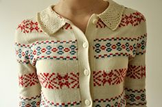 collar fair isle sweater cardigan