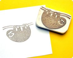 Sloth hand carved rubber stamp