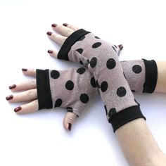 Pink Warm Super Soft Fingerless gloves with Black dots by WearMeUp
