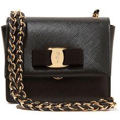 Salvatore Ferragamo Ginny Mini Saffiano Crossbody Bag (£605) ❤ liked on Polyvore featuring bags, handbags, shoulder bags, purse, mini shoulder bag, genuine leather handbags and mini crossbody