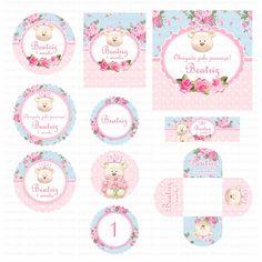 Kit digital para imprimir Ursinha Princesa Azul e Rosa    Os kits digitais da…
