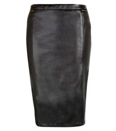 Black Leather-Look Quilted Panel Pencil Skirt