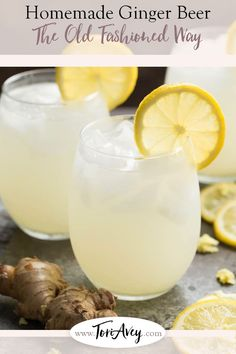 Homemade Ginger Beer - Recipe & Video. Learn to make old fashioned fermented ginger beer (aka ginger ale) the old fashioned way, with fresh grated ginger and the power of active yeast.   ToriAvey.com #ginger #foodvideo #foodhistory #howto #kitchentips #kitchentutorial #theoldfashionedway #history #homemade #ferment #yeast #todayilearned #gingerbeer #gingerale via @toriavey