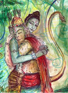 When Rama introduced himself, Hanuman revealed his own identity and fell prostrate before Rama, who embraced him warmly.