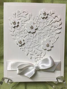 "Bloomin' Hearts Thinlit [140621], Whisper White 5/8"" Satin Ribbon [134549], Precision Plate [139684], Fine Tip Glue [138309], Pearls - Elegant Wedding card"
