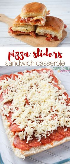 Pizza Sliders (with Video) ⋆ Sugar, Spice and Glitter Yum! These pizza sliders are a delicious option for an easy weeknight supper that everyone can agree to. It also makes a great meal for parties or potlucks - just don't plan on having any leftovers. Pizza Slider, Slider Sandwiches, Steak Sandwiches, Sliders Burger, Beef Sliders, Slider Recipes, Milk Shakes, Snacks Für Party, Party Appetizers