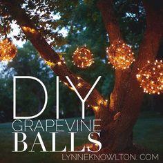 DIY Outdoor Lighting Grapevine Balls or KUDZU ORBS  Love the kudzu vine idea!