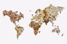 World Map made of coins by Swedish design studio Bedow to visualize economic markets. The map contains approximately coins and every continent is built out of its countries currencies. E Dublin, Coin Crafts, Cuadros Diy, Coin Display, Coin Art, World Map Poster, Map Posters, Map Globe, Globe Art