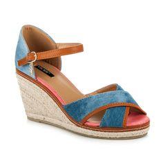 Rifľové sandále na kline 1235-12L.BL