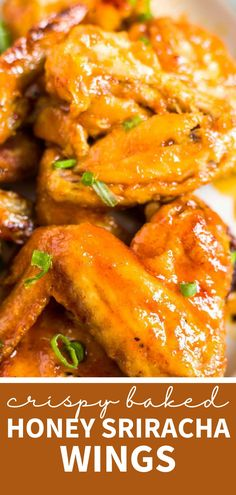 Sweet, sticky and crispy honey sriracha wings with a side of ranch! Throw these gluten free baked wings in the oven for a healthy appetizer, dinner or snack. They're also super easy to make and don't take many ingredients. Honey Sriracha Chicken Wings, Baked Chicken Wings, Healthy Appetizers, Healthy Snacks, Healthy Recipes, Lunch Ideas, Dinner Ideas, Dinner Recipes, Easy Snacks