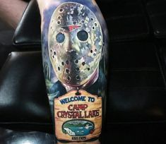 Jason Voorhees from the horror movies Friday The perfect 3 color realistic tattoo style done by tattoo artist Paul Acker Horror Movie Tattoos, Horror Movies, Arte Horror, Horror Art, New Tattoos, Cool Tattoos, Tatoos, Paul Acker, Lake Tattoo