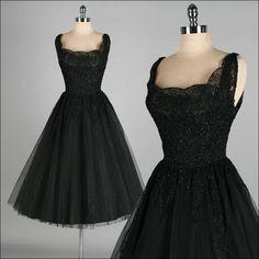 Vtg 50s KAY SELIG Black Glitter Lace Illusion Party Cocktail Dress S M