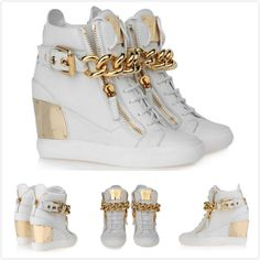 2014 new women wedge sneakers,gzti brand designer white genuine leather with gloden chain woman high heel walking shoes-in Sneakers from Sho...