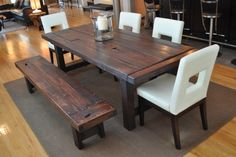 Kitchen:Dark Brown Dining Table Dark Brown Chair Wooden Chair With White Seat Light Wood Floor Selecting Dining Table