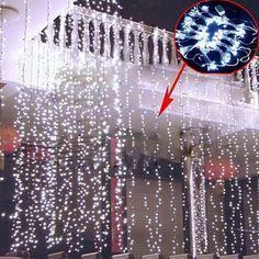 AGPtek 6Mx3M Linkable Fairy Curtain Lights Strings Connectable LED Lights 8 Lighting Modes White
