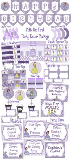 Sofia the First Large Party Pack- Over 60% off  DIY, INSTANT DOWNLOAD, Cupcake Toppers, Signs, cards, etc...