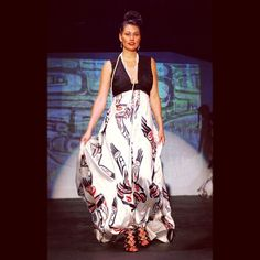 Gorgeous Dorothy Grant Designs! In this photo we have a garment created by a First Nations designer Dorothy Grant, worn by First Nations model Victoria Morgan, shot by Native photographer Thosh Collins, and in a fashion show produced by a Native too (Jessica Metcalfe). Pretty awesome!