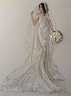 New Fashion Art Illustration Dresses Beautiful Ideas Wedding Dress Illustrations, Wedding Dress Sketches, Wedding Dress Styles, Designer Wedding Dresses, Wedding Drawing, Wedding Dressses, Wedding Art, Fashion Art, Fashion Books