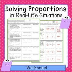 FREEBIE - Students set up and solve proportions involving real-life situations.
