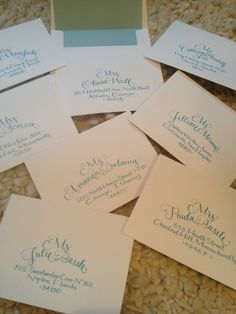 Tiffany blue ink for hand-addressing bridal shower invitations...  {www.CalligraphyBoston.com}