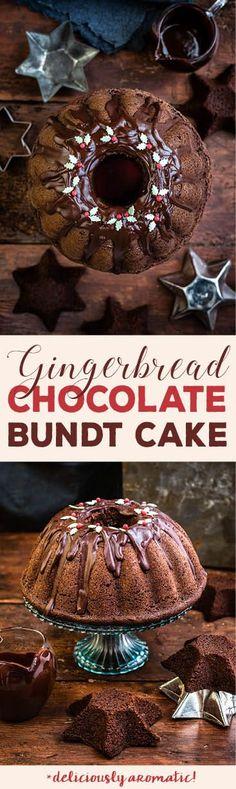 Christmas chocolate gingerbread bundt cake with chocolate glaze | Supergolden Bakes