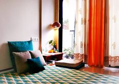Jayati and Manali share their home tour as the science home décor - the calm and relaxing living area near the balcony Indian Room Decor, Indian Bedroom, Ethnic Home Decor, Room Wall Decor, Living Room Decor, Bedroom Decor, Living Rooms, Bedroom Ideas, Cozy Bedroom