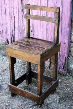 Pallet Wood Bar Stool with Back by UpcycledWoodworks on Etsy, $85.00