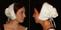 This coif is a reproduction of the Renaissance coifs worn in England in the 16th century and shown on many pictures from that time (eg. Holbein). The pattern is very simple and more historical than my old coif. It fits without problems and any other things than the ribbon.