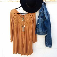 Endless Summer Style #endlesssummer #mustard #dress #boho #denim #distressed #jacket  #floppy #hat #feathers #style #fashion #love #ootd #oc #sanclemente #shopping #streetstyle