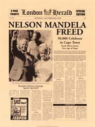 London Herald front page, Feb 1990.