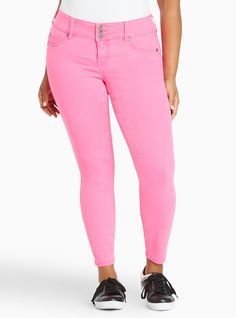 af3c12bd4058a Higher-Rise Skinny Jeggings in Neon Pink Wash